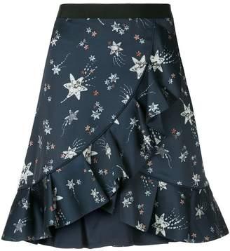 Self-Portrait star print flounce skirt