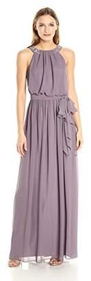 Donna Morgan Women's Peyton Blouson Gown with Beaded Halter Neckline