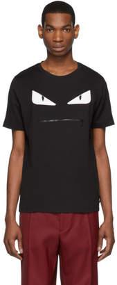 Fendi Black Bag Bugs Zip Mouth T-Shirt