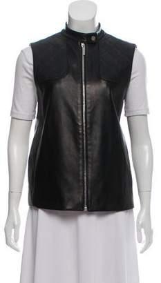 The Row Leather Zip-Up Vest