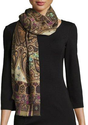 Etro Dehli Paisley Cashmere & Silk Scarf, Brown $485 thestylecure.com