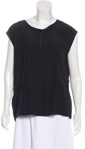 Marni Leather-Trimmed Sleeveless Top