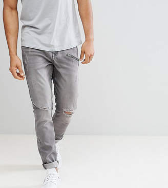 Co Brooklyn Supply Brooklyn Supply Gray Skinny Jeans With Zip and Hem Detail
