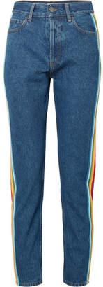Palm Angels Striped Grosgrain-trimmed High-rise Slim-leg Jeans - Blue