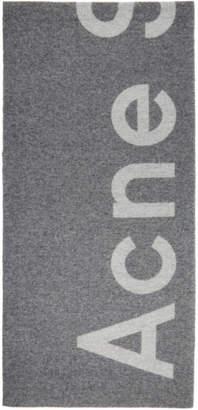 Acne Studios Grey Toronty Logo Scarf