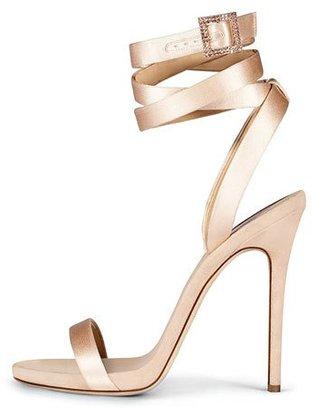 Giuseppe Zanotti for Jennifer Lopez Leslie Satin Ankle-Wrap 120mm Sandal, Nude $895 thestylecure.com