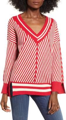 Moon River Diagonal Stripe Slouch Sweater