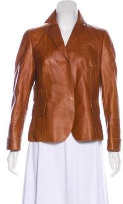 Akris Notch-Lapel Leather Jacket
