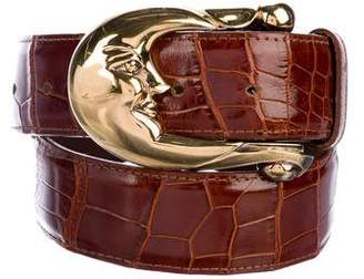 Kieselstein-Cord Sterling Silver Alligator Belt