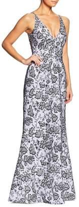 Dress the Population Karen Sequin & Lace Trumpet Gown