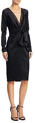 Talbot Runhof Women's Satin V-Neck Sheath Dress