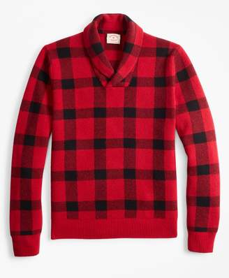 Brooks Brothers Merino Wool-Blend Buffalo Plaid Shawl-Collar Sweater