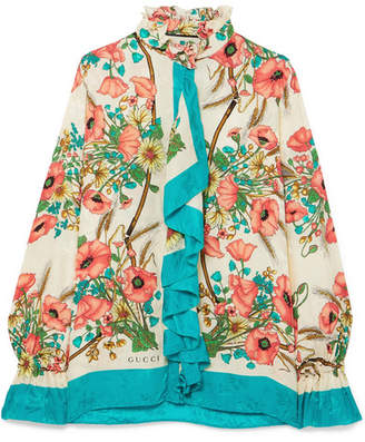 Gucci Ruffled Floral-print Silk-jacquard Blouse - Ivory