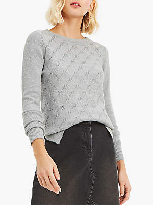Oasis Blair Crew Jumper, Mid Grey