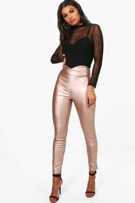 boohoo Leather Look High Waist Skinny Pants