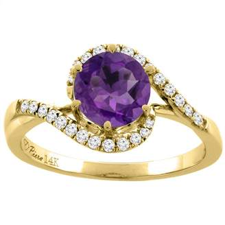 Sabrina Silver 14K Yellow Gold Diamond Natural Amethyst Bypass Engagement Ring Round 7 mm, size 6.5