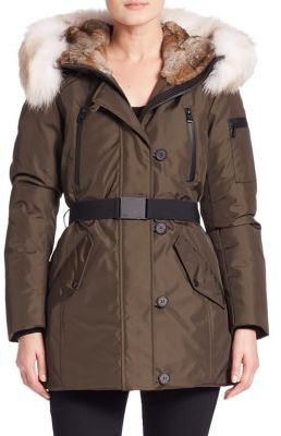 Andrew Marc Fur-Trim Belted Down Parka $795 thestylecure.com