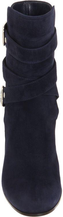 Gianvito Rossi Buckle Strap Mid-Calf Boots-Blue