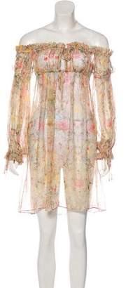Alexander McQueen Off-The-Shoulder Floral Dress