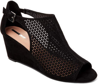 Tahari Black Stage Perforated Wedge Sandals