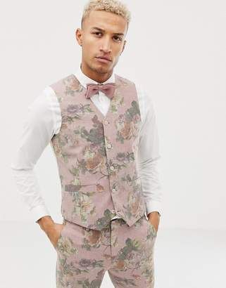 Asos DESIGN skinny suit vest in printed pink floral wool mix