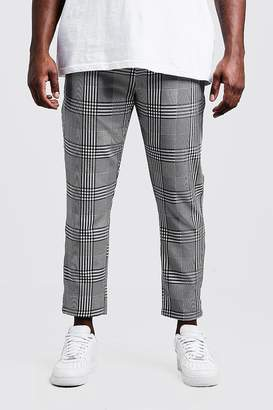 Big & Tall Check Cropped Jogger With Sports Tape