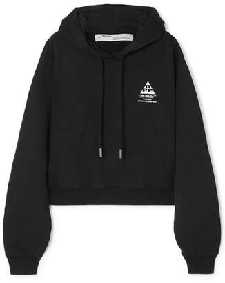 Off-White Printed Cotton-jersey Hoodie - Black