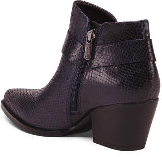 Leather Pointy Toe Stacked Heel Booties