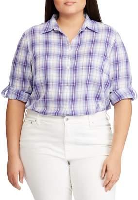 Lauren Ralph Lauren Plus Relaxed-Fit Plaid Button-Down Shirt