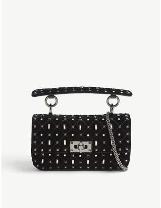 Valentino Ladies Nero Black Embellished Rockstud Velvet Cross-Body Bag