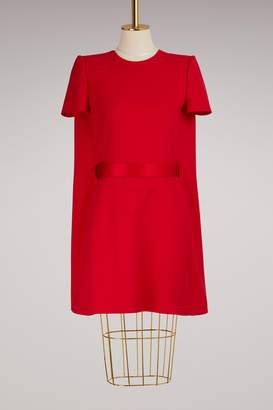 Alexander McQueen Wool Cape Back Mini Dress