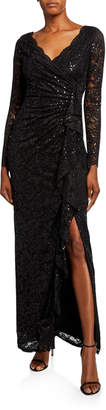 Marina Lace Shirred Cascading Ruffle Gown