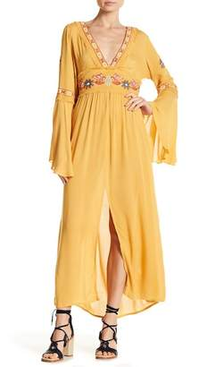 Z&L Europe Embroidered Bell Sleeve Maxi Dress