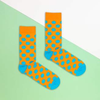 Bryt Orange And Blue Polka Dot Sock