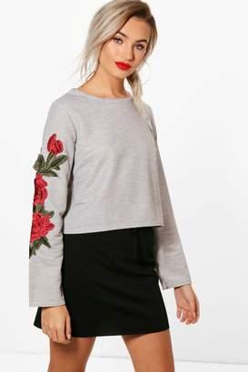boohoo Floral Applique Crop Sweatshirt