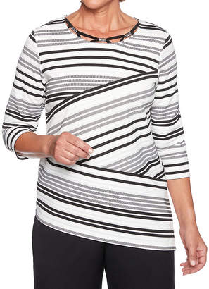 Alfred Dunner Finishing Touch-Womens Crew Neck 3/4 Sleeve T-Shirt