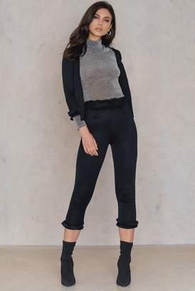boohoo Ellie Frill Trouser Black