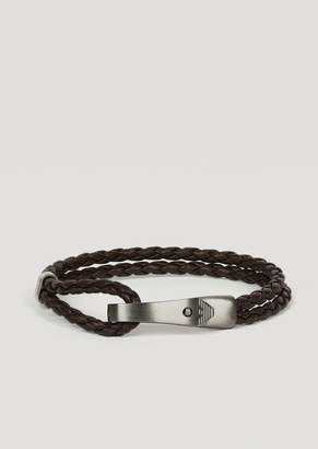 Emporio Armani Bracelet In Leather And Stainless Steel