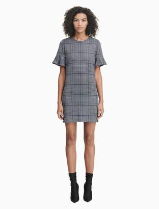Calvin Klein plaid flutter sleeve sheath dress