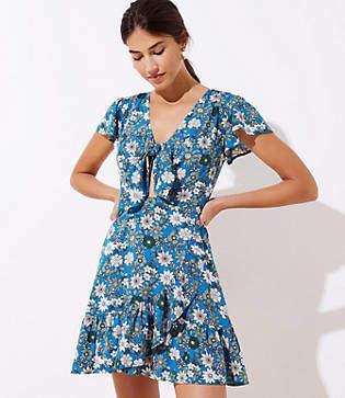LOFT Beach Floral Tie Neck Flutter Dress