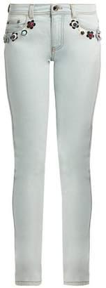 Fendi Flower stud-embellished mid-rise skinny jeans