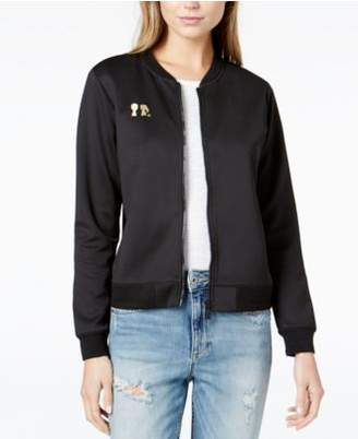 Boy Meets Girl Embroidered-Logo Bomber Jacket