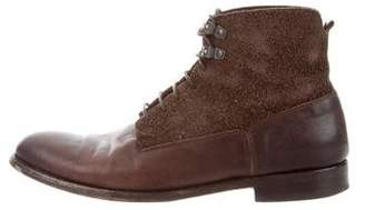 Alexander McQueen Leather & Suede Ankle Boots
