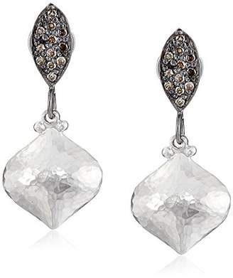 """Gurhan Orbit"""" Sterling with Diamond Pave Marquise Top Post Drop Earrings"""