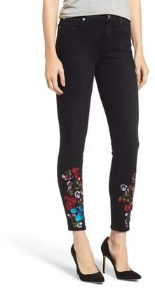 7 For All Mankind Embroidered High Waist Ankle Skinny Jeans