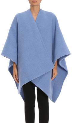 Burberry Cape Cape In Pure Wool And Alpaca Bouclé With Maxi Logo Embroidered On The Back