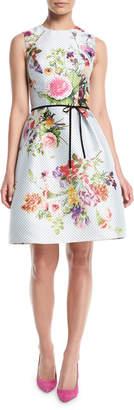 Monique Lhuillier Sleeveless A-Line Floral-Print Polka-Dot Mikado Cocktail Dress w/ Belt