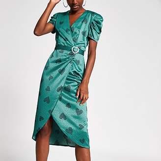 River Island Green heart print wrap midi dress