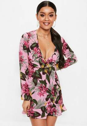 Missguided Pink Wrap Front Ruffle Mini Dress