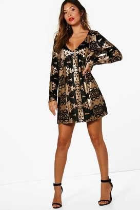 boohoo Boutique Aztec Sequin Print Shift Dress